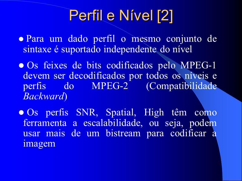 Perfil e Nível [2] Para um dado perfil o mesmo conjunto de sintaxe é suportado independente do nível.